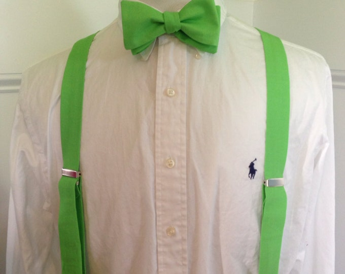Adult bow tie and suspender set (any shade of green you want)