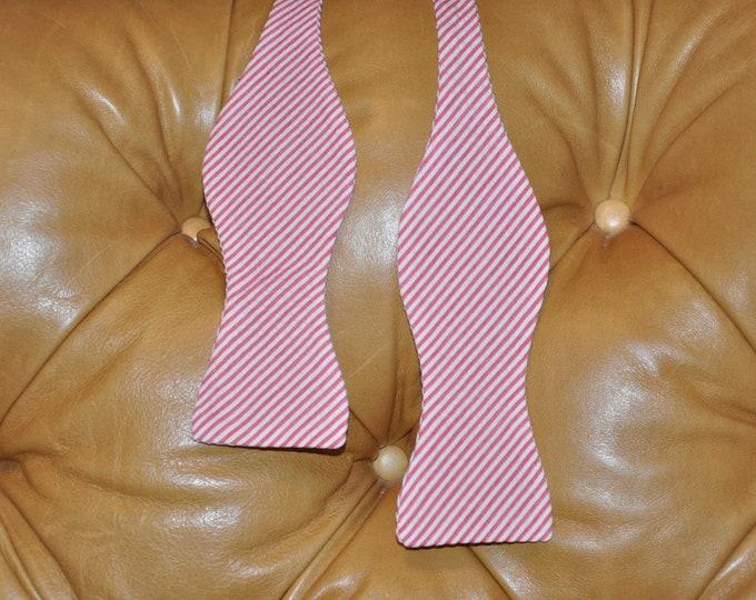 Bow Tie Adjustable Red Seersucker Classic Stripe