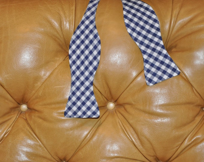 Bow Tie Adjustable Large Gingham Navy