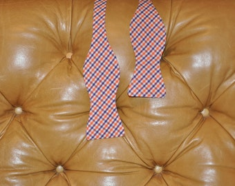 Adult Bow Tie Adjustable Orange and Purple Tattersal