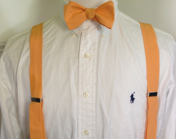 Adult bow tie and suspender set (any shade of Orange and Reds you want)