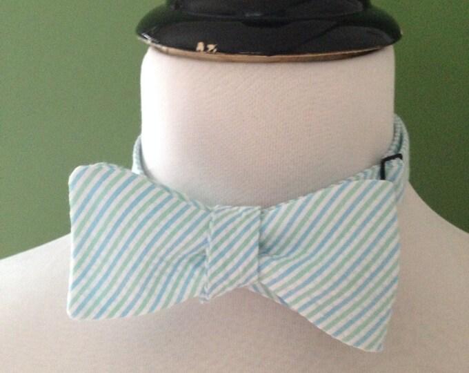 Bow Tie Seersucker Classic Stripe Mint and Cloud