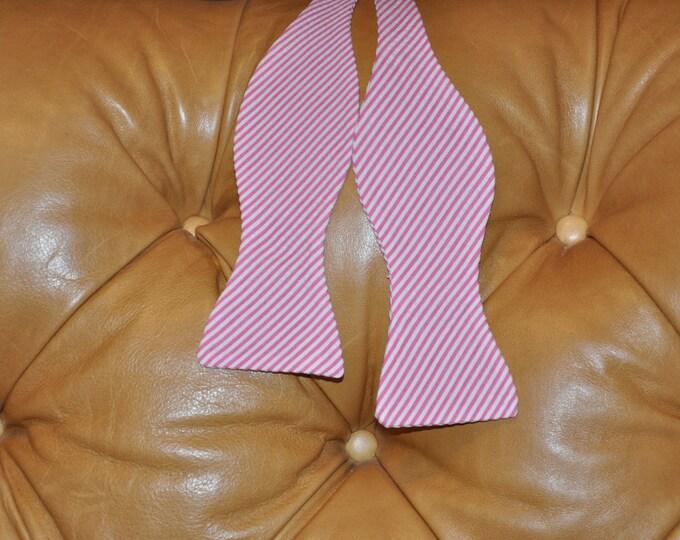 Bow Tie Adjustable Fuschia Seersucker Classic Stripe