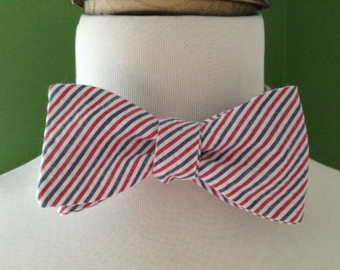 Bow Tie Seersucker Classic Stripe Red, White, and Blue