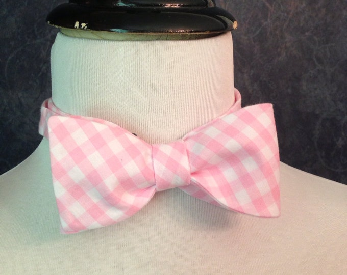 Bow Tie Adjustable Large Gingham Pink