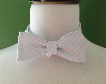 Bow Tie Seersucker Classic Stripe Mint and Coral