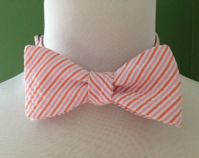 Bow Tie Seersucker Classic Stripe Coral and Pink