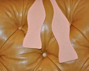 Bow Tie Adjustable Orange Seersucker Classic Stripe
