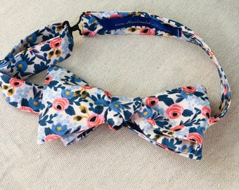 Adult Pink and Navy Rifle Paper Co. Bow Tie with Flowers