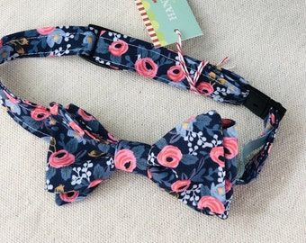 Child Navy Rifle Paper Co. Bow Tie with Flowers