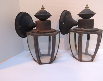 outdoor coach lights entryway pair coach lights dual lighting outside glass panels original wiring beautiful condition vintage outdoor light lamp condition etsy
