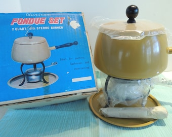 Fondue Set, New in the box, Harvest gold, Never used, New condition, Vintage