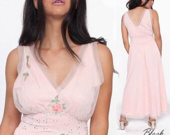 Light Pink Vintage Bombshell Laros Nightie Dress in Pristine Condition with Swarovski Embellishment