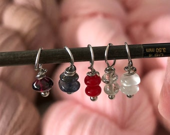 Stitch Markers for knitting, Various gemstones, fit up to 3.5mm knitting needles