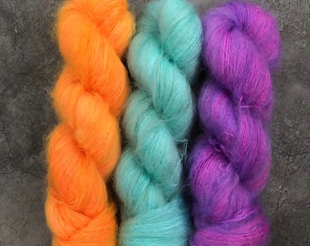 Pre-Order* Various colourways, 75/25 superkid mohair and mulberry silk, lace weight