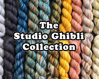 Pre-Order* The Studio Ghibli Collection 2021 (mini skeins set), 75/20/5 sw Merino, nylon and silver stellina, Fingering and DK weight