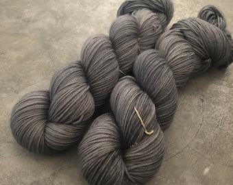 New* Cool Gray II, 80/10/10 MCN Fingering weight, hand dyed yarn