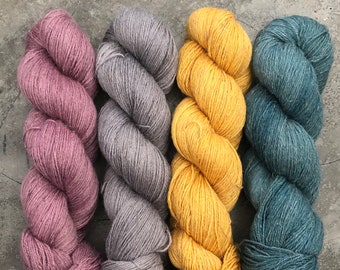 New Base* various colourways, 70/30 Organic Wool and Linen, fingering weight