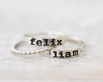 Personalized Rings - Sterling Silver Stackable Name Rings - Personalized Stacking Rings - Sterling Stacker Rings - Stacker Rings- Name Ring