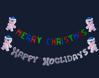 Pigs Happy Hoglidays or Merry Christmas Magnet/Hanger
