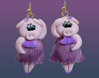 Dancing Pig Earrings