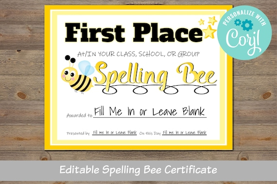 Spelling Bee Award Certificate For School For Classroom For District