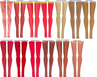 Coral/Peach Doll Stockings to fit Blythe - Chubby Blythe - Middie Blythe - Azone Pure Neemo - doll clothes - doll accessories