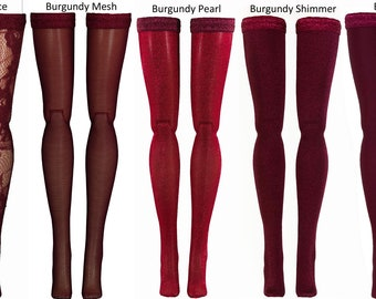 Burgundy Doll Stockings to fit Blythe - Chubby Blythe - Middie Blythe - Azone Pure Neemo - doll clothes - doll accessories