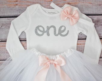 One-derful First birthday outfit girl silver birthday outfit 1st birthday girl outfit Baby girl first birthday outfit Onederful