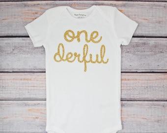 Girls First Birthday One-derful Bodysuit Glitter Gold Onederful First Birthday