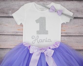 First Birthday Outfit, 1st Birthday, Bodysuit, Light Purple Tutu, Lavender Silver, Birthday Girl