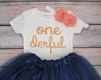 Onederful first birthday, peach onederful bodysuit, flower headband, and navy tutu
