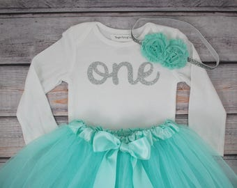 First birthday outfit girl mint and silver birthday outfit 1st birthday girl outfit Baby girl first birthday outfit One