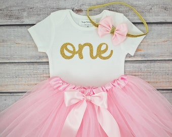 Pink and Gold First Birthday Outfit, first birthday outfit, pink tutu, bodysuit and bow headband