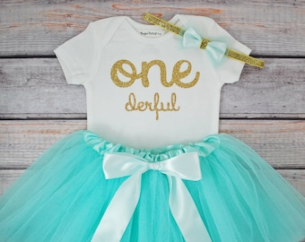 One-derful First birthday outfit girl mint and gold birthday outfit 1st birthday girl outfit Baby girl first birthday outfit Onederful