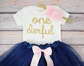 Baby girls first birthday outfit with shabby flower headband | one year old girl birthday outfit | Pink and Gold First Birthday Outfit Girl