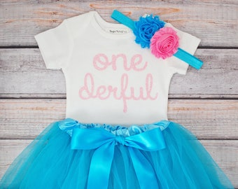 One-derful First birthday outfit pink and turquoise birthday outfit 1st birthday girl outfit Baby girl first birthday outfit Onederful