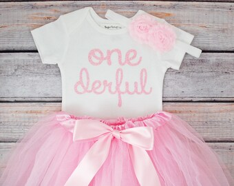 One-derful First birthday outfit girl Pink birthday outfit 1st birthday girl outfit Baby girl first birthday outfit Onederful