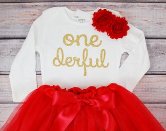 One-derful First birthday outfit girl red and gold birthday outfit 1st birthday girl outfit Baby girl first birthday outfit Onederful