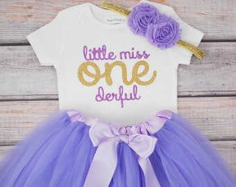 Little Miss One-derful First birthday outfit girl purple and gold birthday outfit 1st birthday girl outfit Baby girl