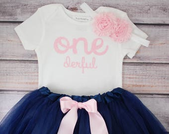 One-derful First birthday outfit girl pink and navy birthday outfit 1st birthday girl outfit Baby girl first birthday outfit Onederful