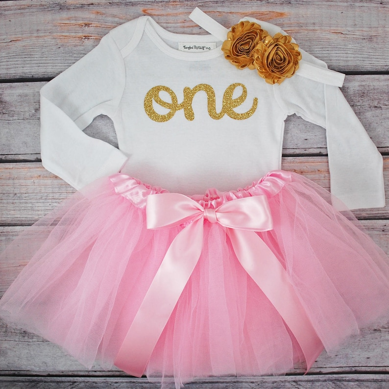 6d2158651 First birthday outfit girl Pink and gold first birthday | Etsy