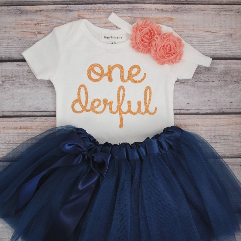 7e9c09442 One-derful First birthday outfit girl peach and navy birthday