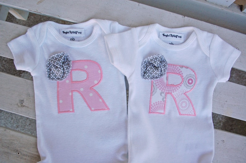 Personalized baby gift Pink and grey baby gift Ruffle bottom Personalized baby gift