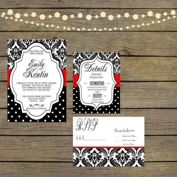 Wedding Invitation Black White Damask Printed Red Ribbon Printed Jewel Brooch