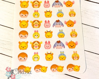 Tsum Tsum Pooh and Friends Planner Stickers ~ Disney Inspired  | Life Planner | EC | Erin Condren | Limelife | Inkwell | Plum | Decorative