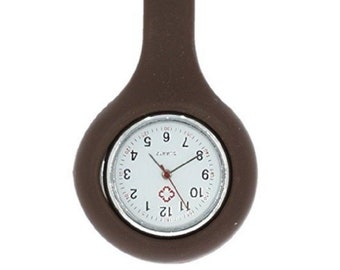 Brown Silicone Nurse Watch Brooch Tunic Fob With Free Battery Doctor Medical