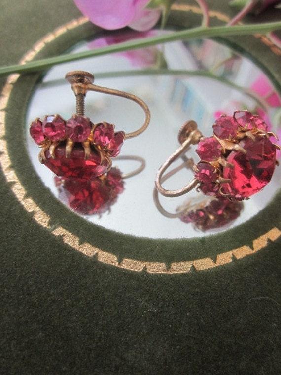 Vintage Pink Crystal Screw Back Earrings