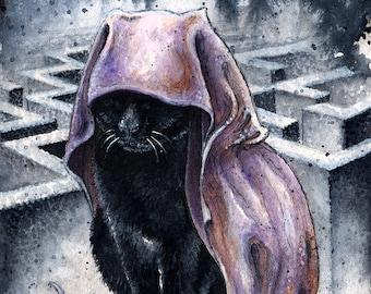 The Endless: Destiny - Fine Art Watercolour Sandman Black Cat Print