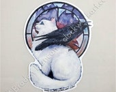 The Sky Won 39 t Fall Forever Die Cut Vinyl Sticker Watercolour Crow Cat